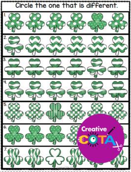 St. Patrick's Day Shamrock Visual Perception Activities