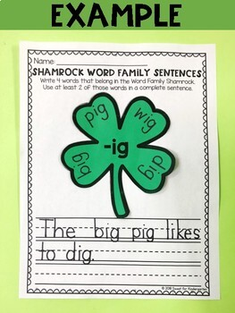 St. Patrick's Day Shamrock Word Family Writing