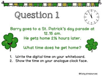 St Patrick's Day Shamrock themed Time Problems Math activity
