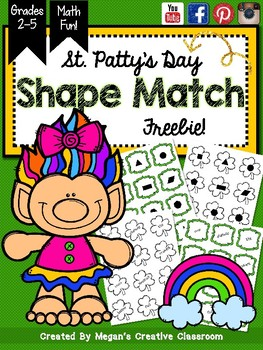 St. Patrick's Day Shape Match FREEBIE!!