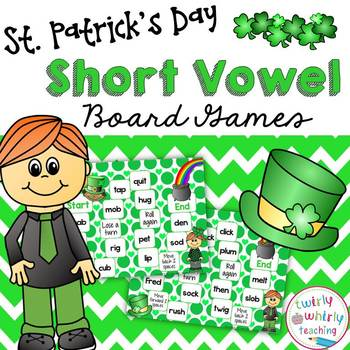 St. Patrick's Day Short Vowel Board Games