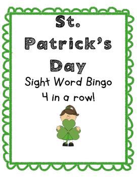 St. Patrick's Day Sight Word Bingo 4 in a row
