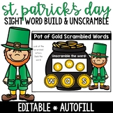 St. Patrick's Day Sight Word Build and Unscramble