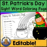 St. Patrick's Day Sight Word Coloring Sheet Activity   *Editable*