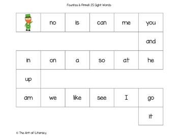 St. Patrick's Day Sight Word File Folder Games