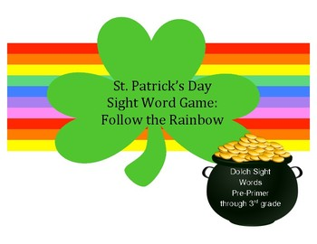 St. Patrick's Day Sight Word Game: Follow the Rainbow (Dolch word lists)