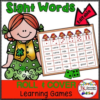 Sight Word Games – St. Patrick's Day Theme  Roll & Cover! {EDITABLE}
