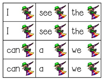 St. Patrick's Day Sight Word Match Game