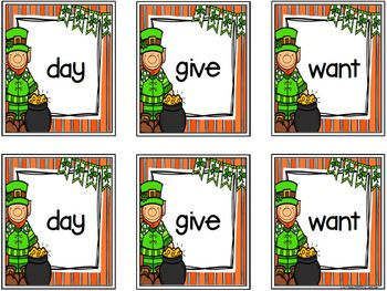 St. Patrick's Day Sight Word Match:  LOW PREP Card Game