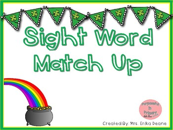 St. Patrick's Day Sight Word Match Up
