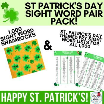 St. Patrick's Day Sight Word PAIR PACK!