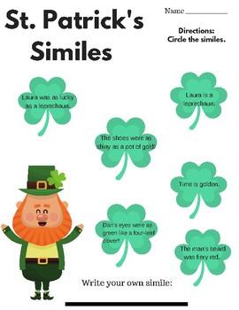St. Patrick's Day - Similes and Metaphors (Figurative Language)