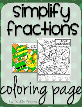 St. Patrick's Day Simplify Fractions Coloring page