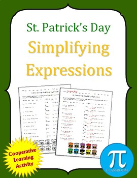 St. Patrick's Day Simplifying Expressions Cooperative Learning