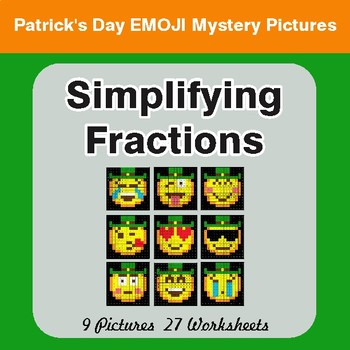 St. Patrick's Day: Simplifying Fractions - Color-By-Number Math Mystery Pictures