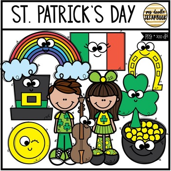 St. Patrick's Day Smiley Friends (Clip Art for Personal & Commercial Use)