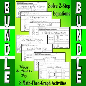 St. Patrick's Day - Solve 2-Step Equations - 7 Math-Then-Graph Activities Bundle
