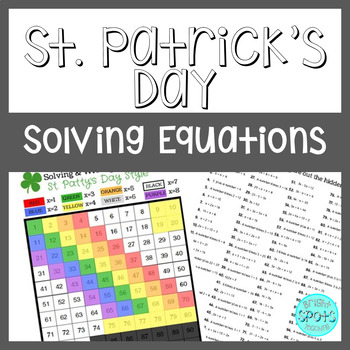 St. Patrick's Day Solving Equations Hundreds Chart