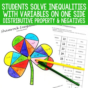 St. Patrick's Day Solving Inequalities Coloring Activity Middle School Math