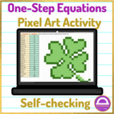 St. Patrick's Day Solving One Step Equations Pixel Art Activity