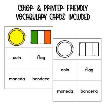 St. Patrick's Day Spanish Vocabulary Matching Card Game