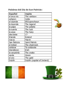 St. Patrick's Day Spanish puzzles San Patricio Wordsearch Crossword Scramble