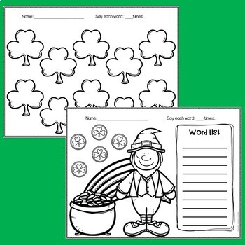 St. Patrick's Day Speech No Prep Articulation Worksheets