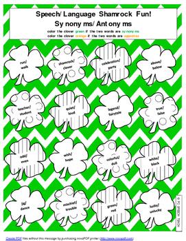 St. Patrick's Day Speech and Language Fun