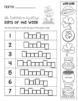 St. Patrick's Day Spelling - Days of the Week
