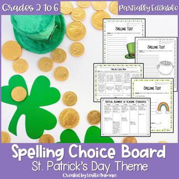 EDITABLE St. Patrick's Day Spelling Menu