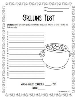EDITABLE St. Patrick's Day Spelling Board