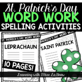 St. Patrick's Day Spelling Word Work Activities
