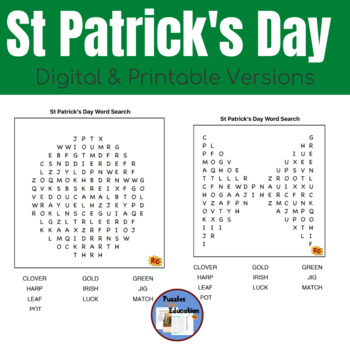 St Patrick's Day Spellings Word Search Grade 1