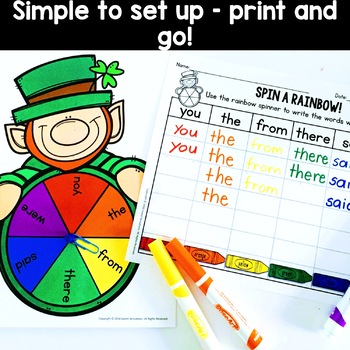 St. Patrick's Day Spin a Rainbow Center - FREE!