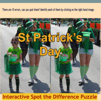 St Patrick's Day Spot the Difference Puzzle Grade 5-9