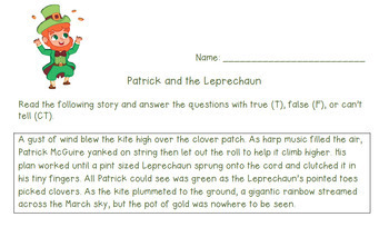 St. Patrick's Day Story for Critical Reading and to Enhance Accountable Talk