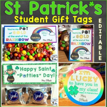 St. Patrick's Day Student Gift Tags & Treat Bag Toppers (Editable)