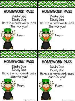 St. Patrick's Day Student Gifts- Coupon Book, Homework Passes and Bookmarks!