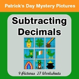 St Patrick's Day: Subtracting Decimals - Color-By-Number Mystery Pictures
