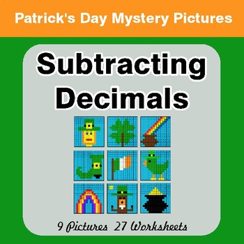 St Patrick's Day: Subtracting Decimals - Color-By-Number Math Mystery Pictures