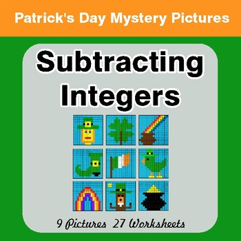 St Patrick's Day: Subtracting Integers - Color By Number Math Mystery Pictures