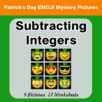 St Patrick's Day: Subtracting Integers - Color-By-Number Mystery Pictures