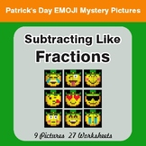 St. Patrick's Day: Subtracting Like Fractions - Color-By-Number Mystery Pictures