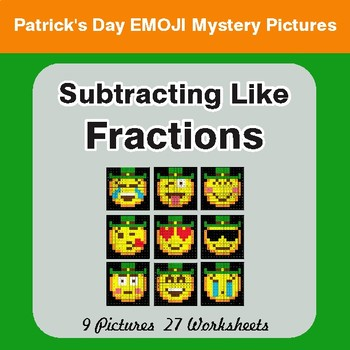 St. Patrick's Day: Subtracting Like Fractions - Color-By-Number Math Mystery Pictures