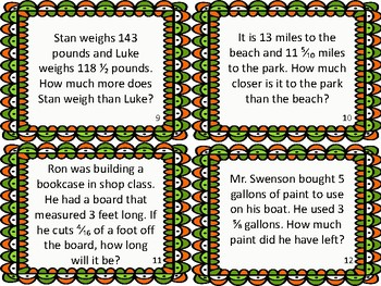 St. Patty's Subtracting Mixed Fractions Common Denominator Task Cards Activity