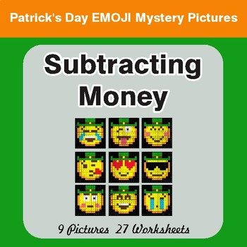 St. Patrick's Day: Subtracting Money - Color-By-Number Mystery Pictures