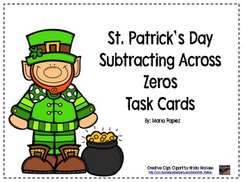 St. Patrick's Day Subtraction Across Zeros Task Cards