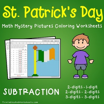 St Patrick's Day Math Subtraction, St Patrick's Day Subtraction Mystery Pictures