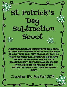 St. Patrick's Day Subtraction Scoot