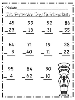 St. Patrick's Day Subtraction to 100 Pack